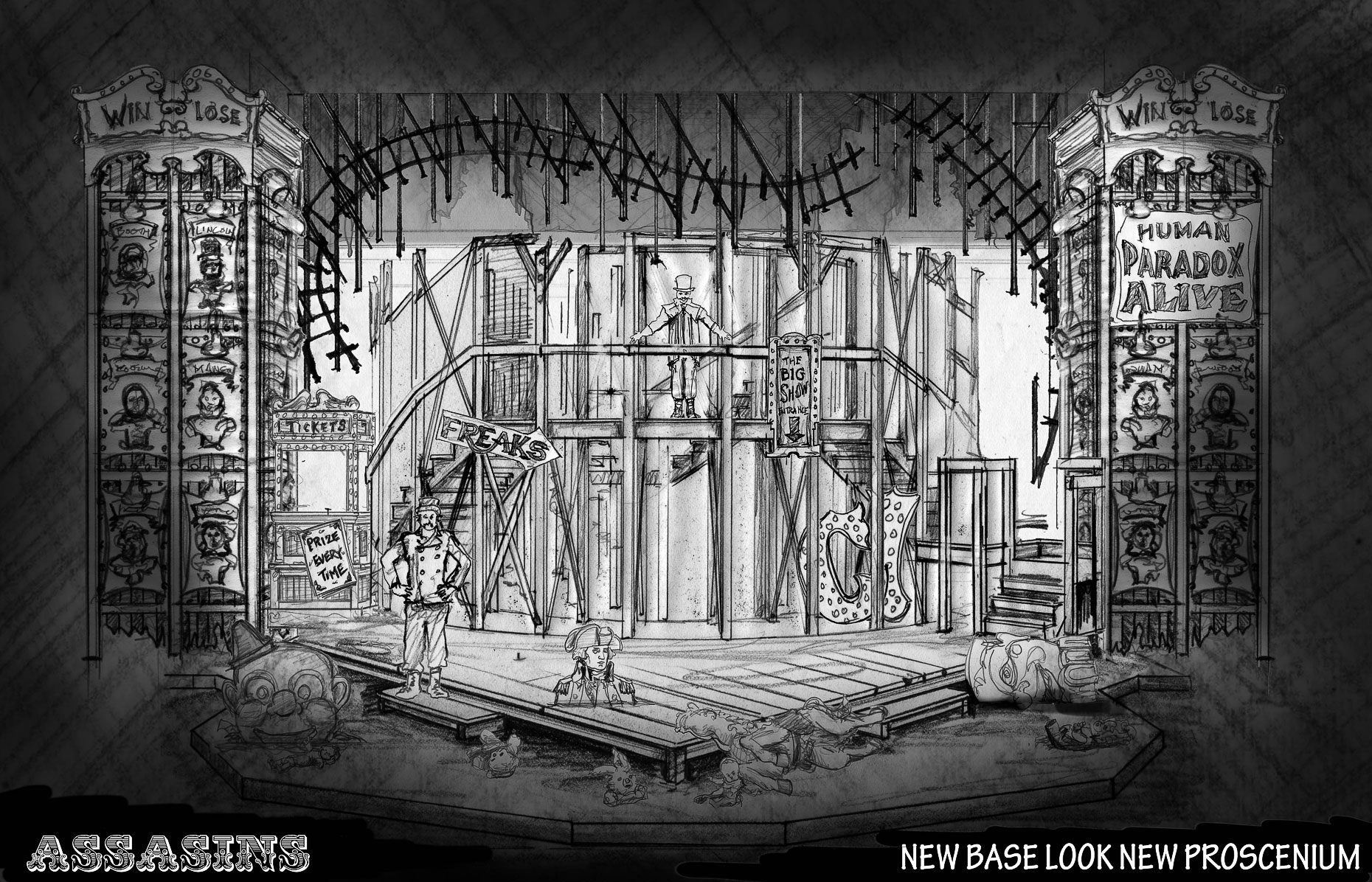 Assassins Musical Design Set Design Scenic Design #SetDesign #ScenicDesign